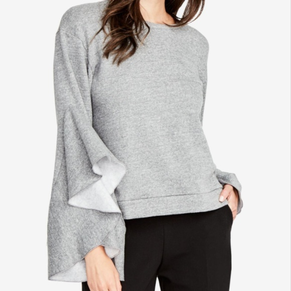 f798733b295cf RACHEL Rachel Roy Gray Ruffle-sleeve Sweatshirt. M 5b7cc1912beb79161497bebd
